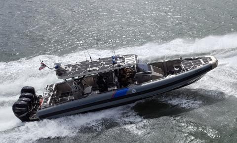 Marine Interdiction Agents test the capabilities of AMO's Coastal Interceptor Vessel. Photographer: Carlos Rivera