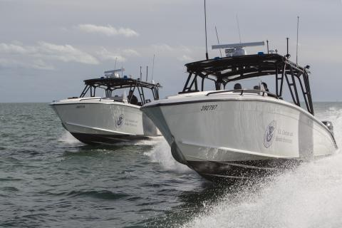 AMO crews patrol Miami waters in the Midnight Express Interceptor vessel to ensure safety in matters of border security. Photographer: Donna Burton