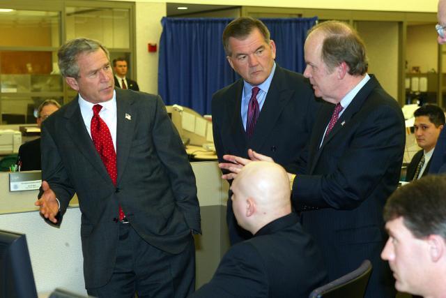 President George W. Bush tours CBP port operations.
