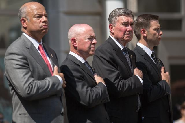 At the 2014 CBP Valor Memorial ceremony. From left: Homeland Security Secretary Jeh Johnson; Homeland Security Deputy Secretary Alejandro Mayorkas; Commissioner Kerlikowske; Acting Deputy Commissioner Kevin McAleenan.