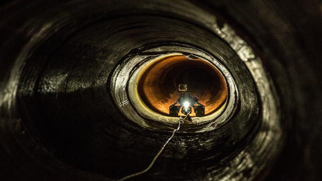 A CBP robot explores a drainage pipe in Nogales, Arizona.
