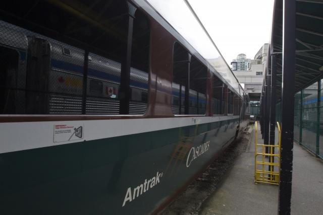 The Amtrak Cascades train, seen here in Vancouver's Pacific Central Station, transports travelers who receive CBP pre-inspection processing to Seattle.