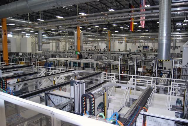 A view of SolarWorld's panel production line. Photo by Ed Colford