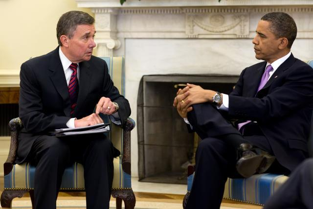 President Barack Obama discusses drug control strategy with R. Gil Kerlikowske in an undated photo from Kerlikowske's 2009-2014 tenure as director of the White House Office of National Drug Control Policy. Photo courtesy of Office of National Drug Control Policy.