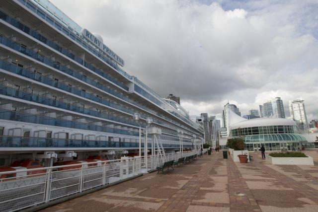 The cruise ship Ruby Princess at Port Metro Vancouver awaits passengers who are cleared for boarding by CBP pre-inspection operations.