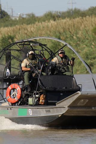 Air boats are ideally suited to handle the shallow depths of many parts of the Rio Grande River.