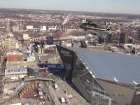 AMO blackhawk flying above U.S. Bank stadium