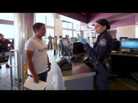 CBP Officer interviews a person