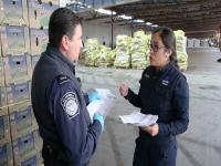 CBP Officers talking in front of cargo at a port of entry