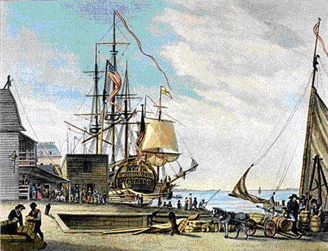 """Arch Street Landing"" in Philadelphia. Engraving by W. Birch, dated 1800."