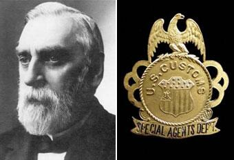 Left: Oliver L. Spalding; Right: Earliest known styling for Customs agent badge - circa 1888.