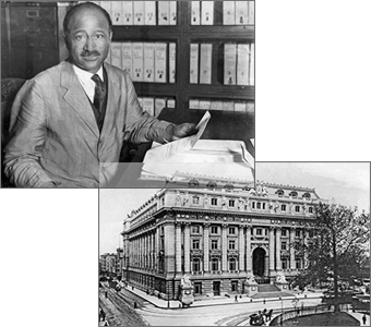 The left photo shows Matt Henson at his desk in the customhouse (right).