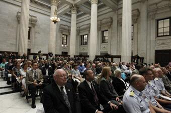 Photo of crowd at the New Orleans Custom House Rededication Ceremony