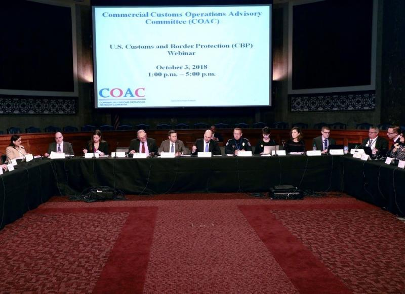The COAC, an advisory committee established by Congress, is comprised of 20 appointed members from the international trade community. On October 3, 2018, committee members convened at the Dirksen Senate Office Building in Washington, D.C.   Photo Credit: Jaime Rodriguez