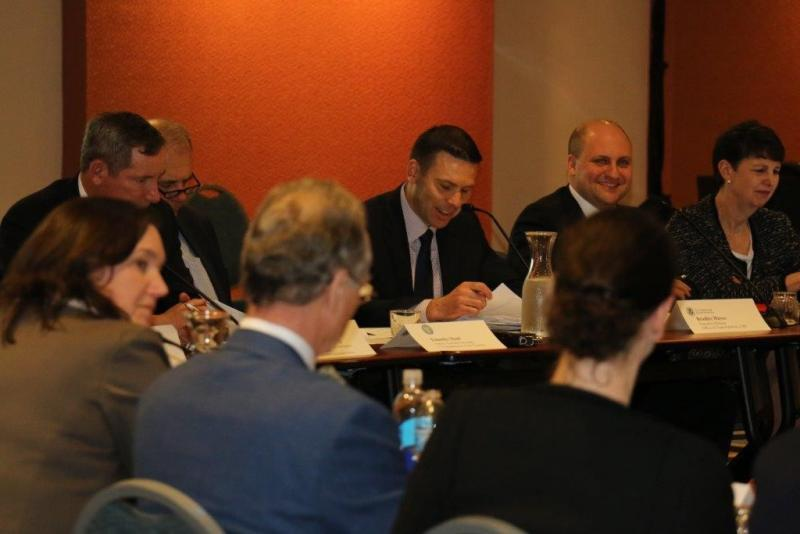 CBP Acting Commissioner Kevin McAleenan (center, holding a paper) participates in the CBP-sponsored quarterly COAC meeting, Feb. 28. Photo by Keith Smith