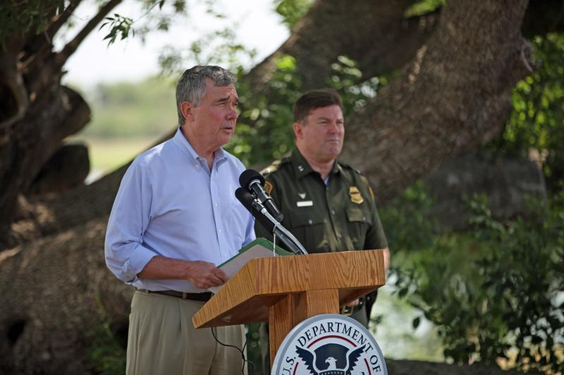 CBP Commisisoner R. Gil Kerlikowske discussing the dangers and misinformation associated with the current influx of children attempting to enter the U.S. during a news conference on the banks of the Rio Grande River in Texas.