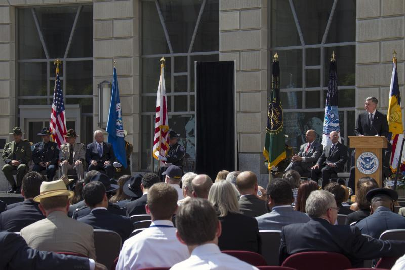 CBP Commissioner R. Gil Kerlikowke addresses the crowd at the Valor Memorial ceremony in Washington, D.C., on May 14. Homeland Security Secretary Jeh Johnson was the ceremony's guest speaker and Homeland Security Deputy Secretary Alejandro Mayorkas also spoke at the event.