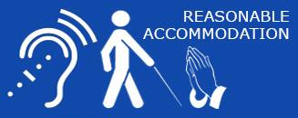 A graphic image that reads Reasonable Accommodation with three symbols representing hearing, seeing, and religion