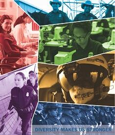 Various images of CBP employees (Officers, Agents, etc.) with text that reads: Diversity Makes Us Stronger.