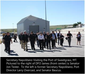 Secretary Napolitano visitng the port of Sweetgrass, MT.