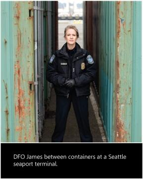 DFO James between containers at a Seattle seaport terminal.