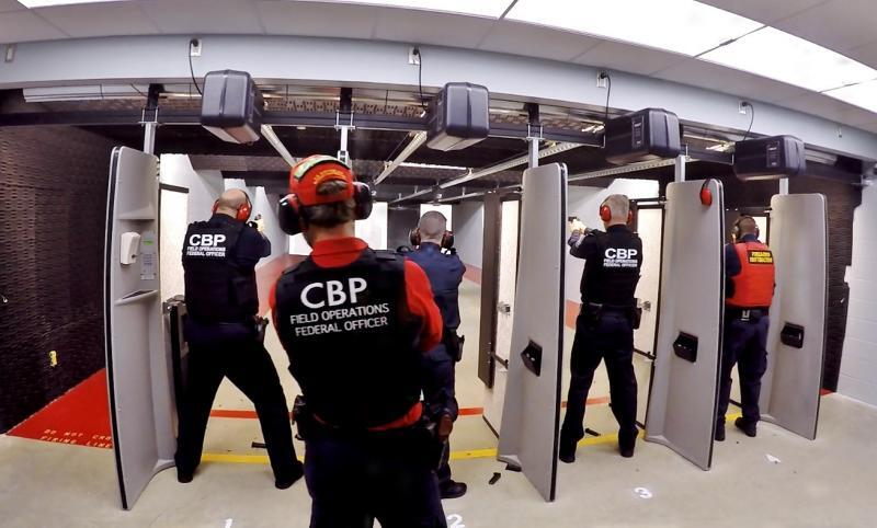 CBP personnel use the new shooting range in Calais, Maine on January 4.