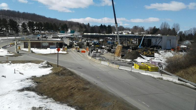 Construction is underway at the Derby Line I-91 border crossing.