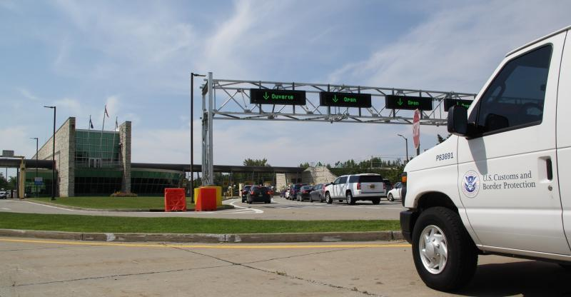 Travelers cross into the U.S. from Canada at the port of entry in Highgate Springs.