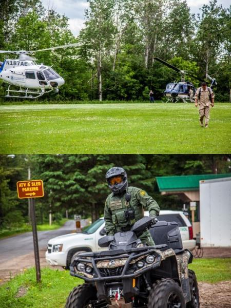 CBP Air and Marine assets from Plattsburgh and Border Patrol agents from Swanton Sector search for two escaped convicts in 2015.