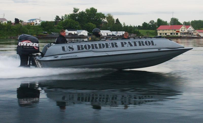 U.S. Border Patrol agents patrol the border along the Saint Lawrence River near Massena.