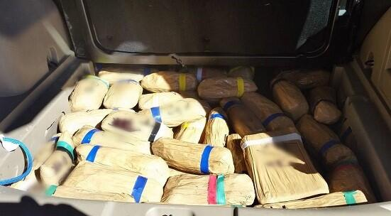 CBP officers seized 349 pounds of drugs in three separate incidents Feb. 23. This load hidden with a Jeep contained heroin, meth, cocaine, and fentanyl.