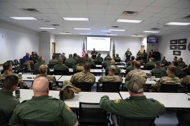 Yuma Sector Leadership briefs incoming deployed agents on their are of responsibility Nov. 19.