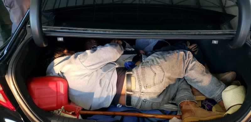 Two illegal aliens from Mexico, ages 17 and 41, are discovered in the trunk of a car by U.S. Border Patrol agents Nov. 15.