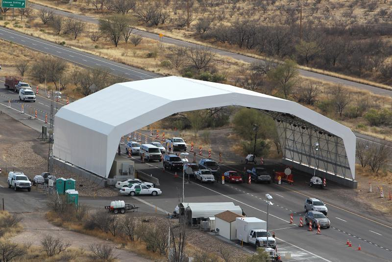 An aerial image of the I-19 Immigration Checkpoint