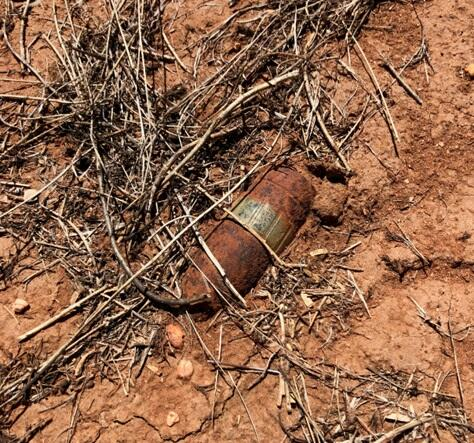 unexploded a MK2 37mm ordnance round from World War II