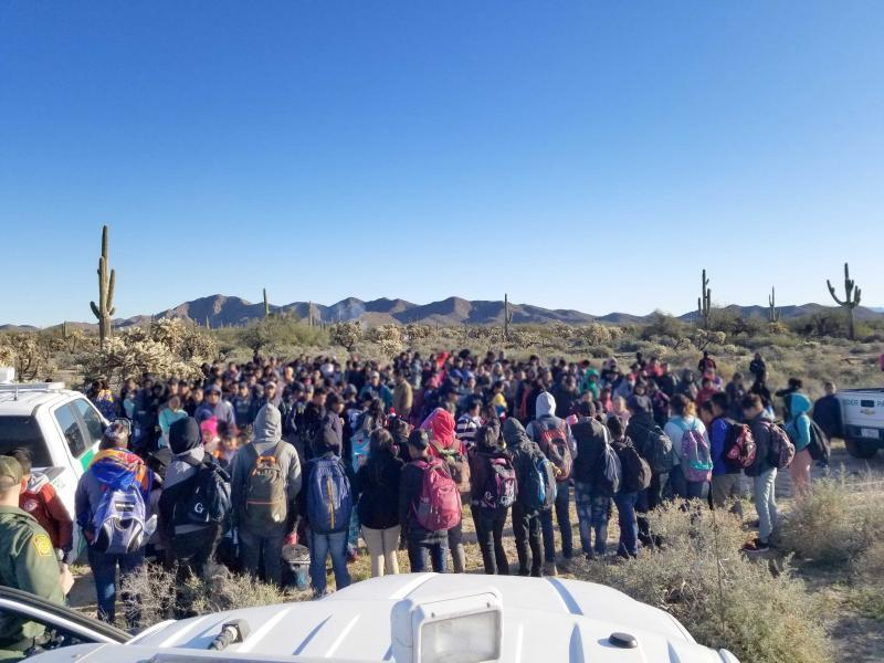 A large group of 325 Central Americans who surrendered to agents west of Lukeville Feb. 7.