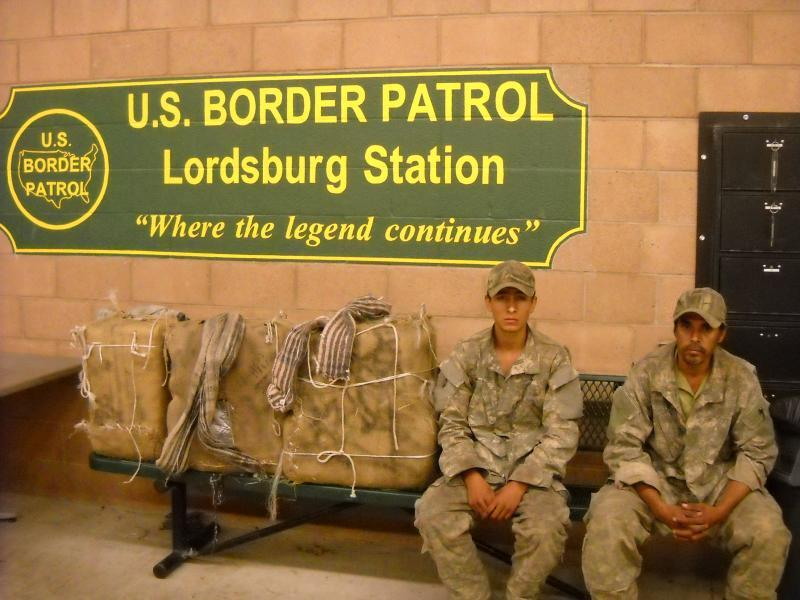 Smuggler dressed in camoflauge clothing attempt to evade Border Patrol.