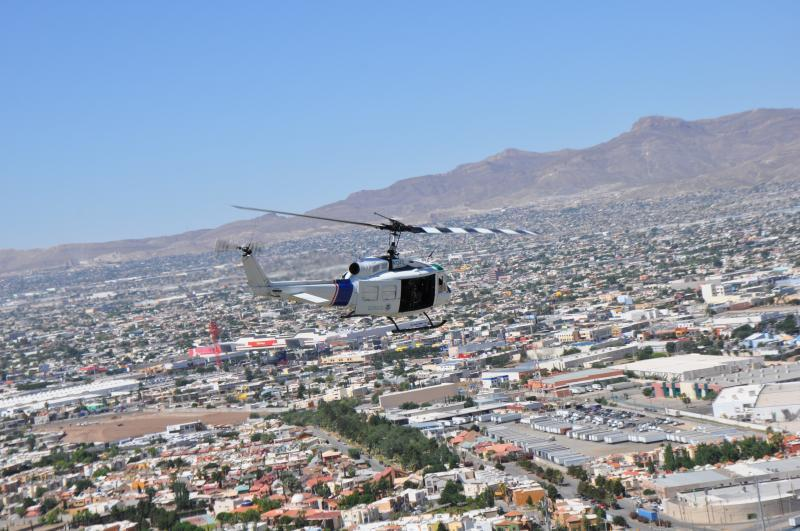 AMO's last remaining UH-1H helicopter (N7247J) making its final flight in El Paso, TX.