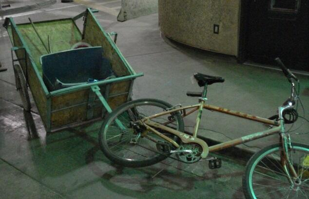 CBP officers at the Calexico downtown port of entry found five pounds of methamphetamine in this bike trailer.