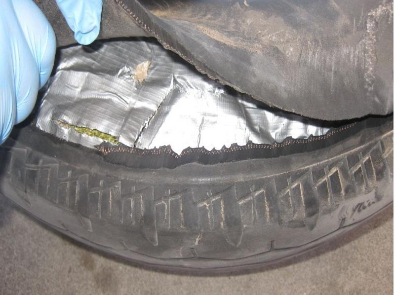 CBP officers at the Andrade port of entry found marijuana concealed in this spare tire