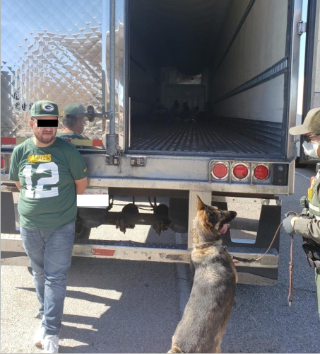 El Centro Sector Border Patrol agents assigned to the Highway 86 immigration checkpoint arrested a man suspected of smuggling 12 illegal aliens Tuesday afternoon.
