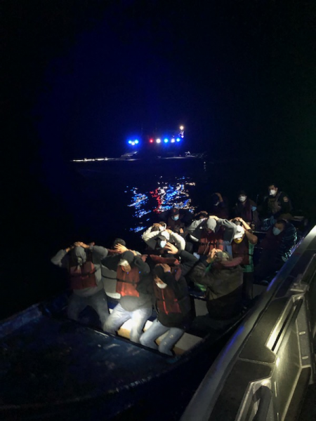 U.S. Customs and Border Protection Air and Marine agents stopped a boat off the coast of San Diego early Thursday morning with 18 people on board trying to illegally enter the U.S.