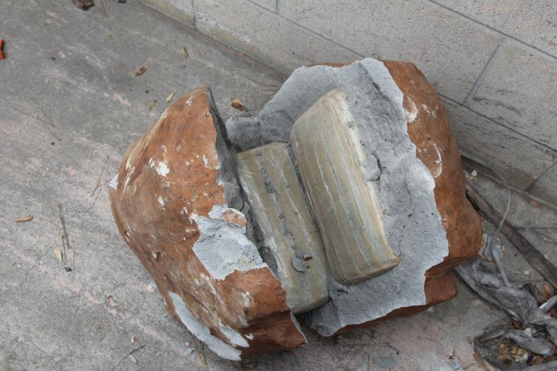 "CBP officers seized 577 large packages of marijuana hidden in a cargo shipment manifested as ""red stone."""