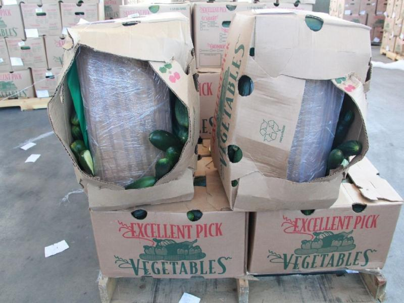 CBP officers working at the Otay Mesa cargo port of entry Sunday discovered almost 3,100 pounds of marijuana hidden inside of a shipment of cucumbers.
