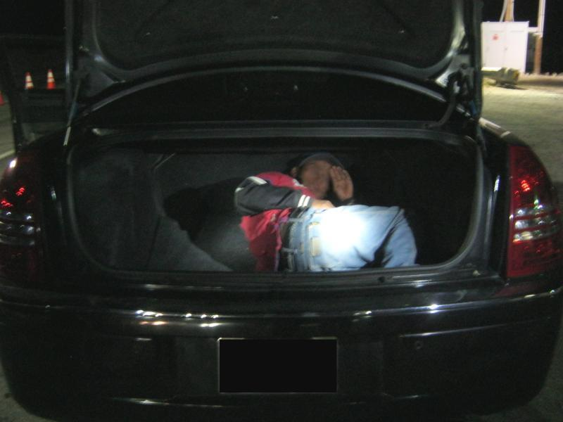 U.S. Border Patrol agents in San Diego Sector intercepted two men at the Pine Valley checkpoint last night who had a Mexican national locked inside the trunk of their vehicle.