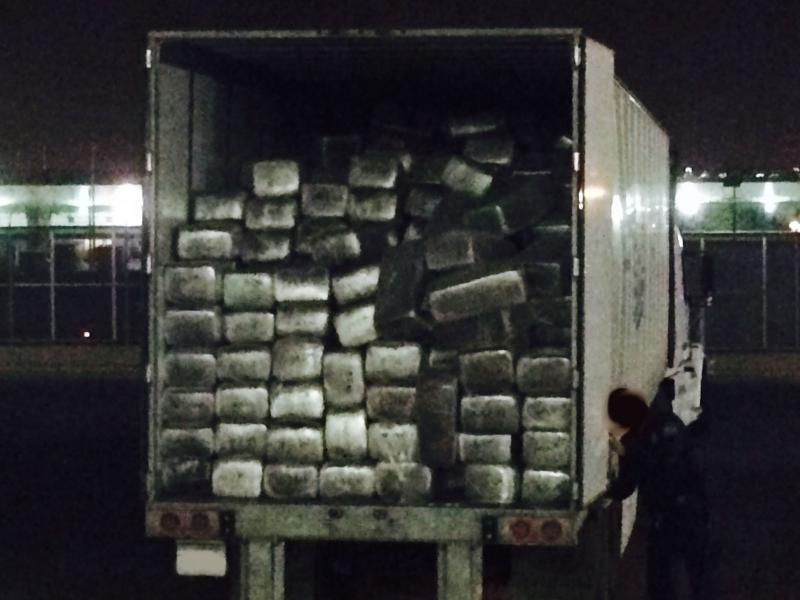 CBP officers open this truck with a manifest shipment of