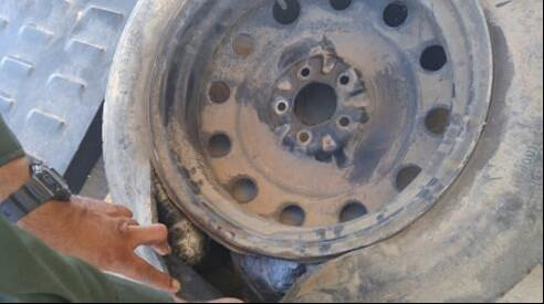 El Centro Sector Border Patrol agents assigned to the Indio Station working at the Highway 86 checkpoint, arrested a man suspected of drug smuggling after they discovered packages of methamphetamine hidden inside the spare tire of the vehicle.