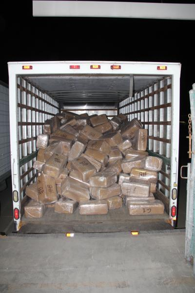 350 packages of marijuana weighing approximately 8,400 pounds with a street value of $4.1 million.