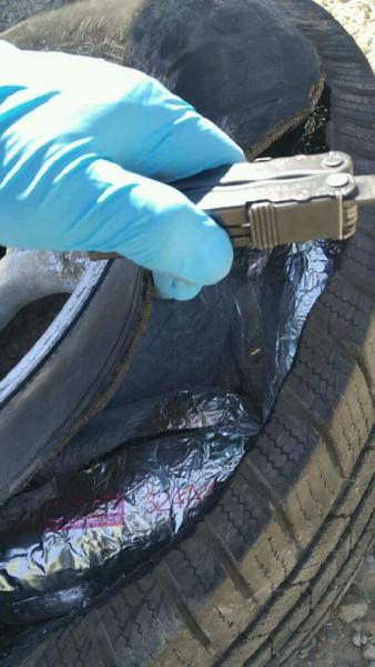48 packages of meth were stuffed inside this spare tire.