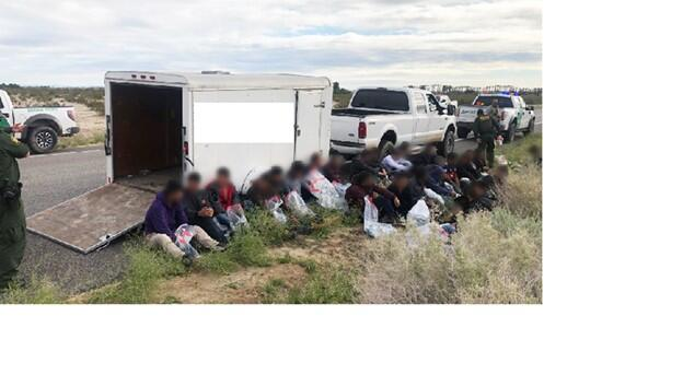 Agents arrest 42 illegal aliens after finding them inside this trailer.